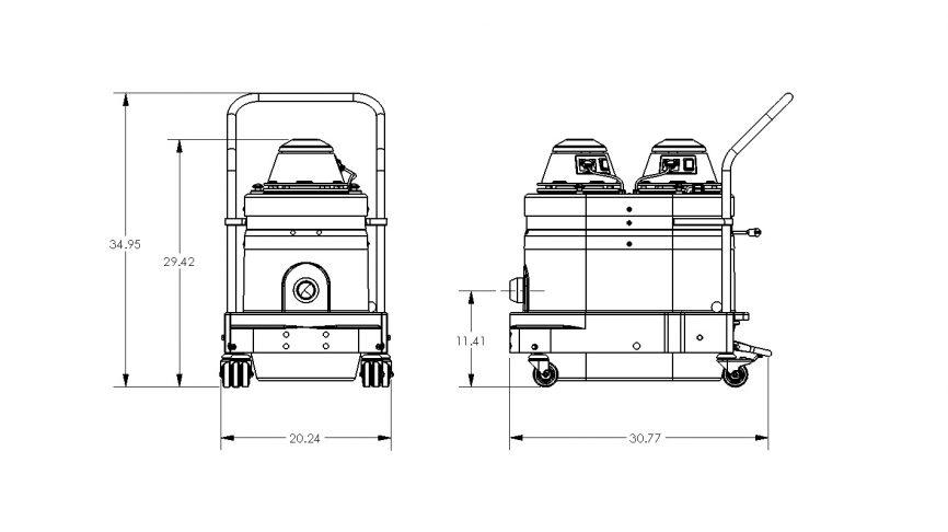 WNS2220 Portable Industrial Vacuum Dimensions