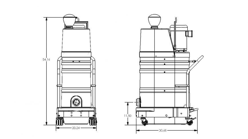 DS1400 Portable Industrial Vacuum Dimensions