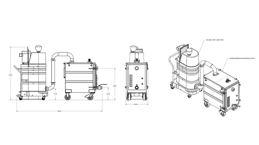 NA250 Immersion Separator Dimensions