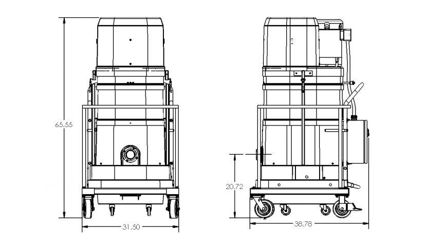 DS2720-CON Portable Industrial Vacuum Dimensions
