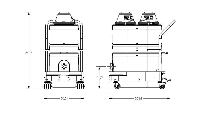 WNS2220 HEPA Maxx Portable Industrial Vacuum Dimensions