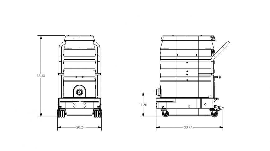 WS2220 Portable Industrial Vacuum w/ HEPA 2.0 Dimensions