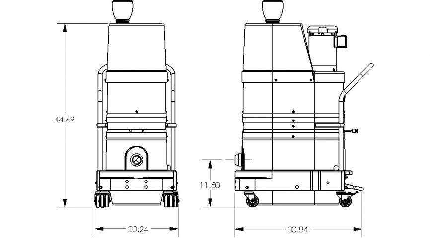 DS1000 HEPA Maxx Portable Industrial Vacuum Dimensions