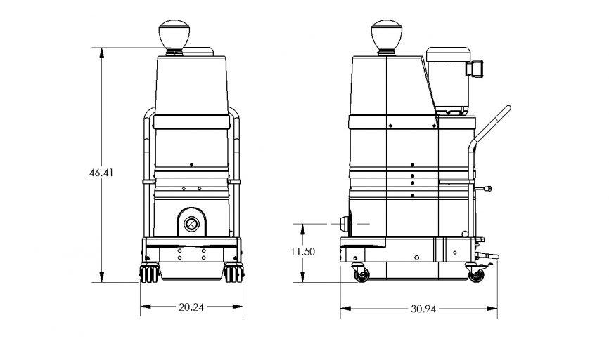DS1220 HEPA Maxx Portable Industrial Vacuum Dimensions