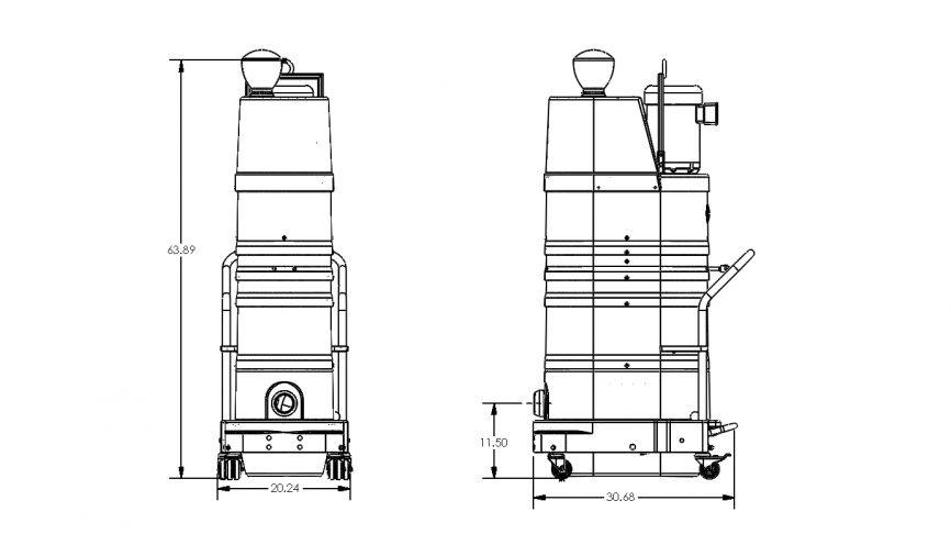 DS1400 HEPA Maxx Portable Industrial Vacuum Dimensions