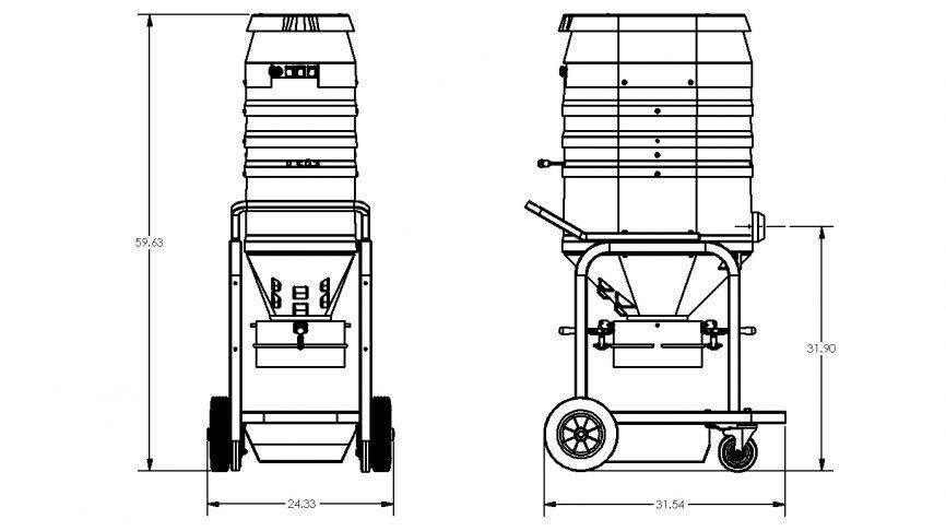 WS2320-DB Direct Bagger Vacuum Dimensions